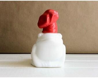 Avon Frog / Bath Oil Bottle / Vintage Avon Handy Frog / White Milk Glass / Garden Frog / Bath Oil Decanter / Garden Frog / Frog Bud Vase