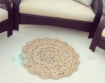 "Round flower chunky doily Jute rug 31"", Jute Doily Rug, Jute twine rug, Jute home decor, Throw Rug, Kitchen Mat, Cottage Chic, Outdoor Rug"