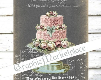 Chalkboard Patisserie Bakery Wedding Cake Cupcakes French Tarte Download Burlap Fabric digital collage sheet graphic printable No. 200