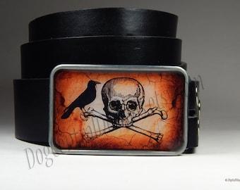 Belt Buckle Skull Cross Bones Raven Crow Belt Buckle Bird Buckle Mens Belts Mens Clothing Womens Belts Leather Belt Gift For Him Her