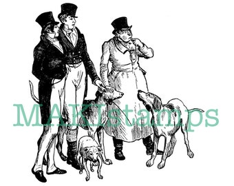 Victorian style rubber stamp Gentlemen with dogs rubber stamp - unmounted or cling stamp (160509)