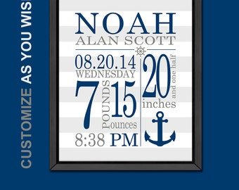 nautical baby decor birth stats print nautical baby boy birth announcement personalized baby boy gifts nautical baby room decor birth print