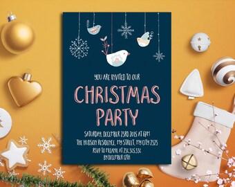 Christmas Invitation Printable, Christmas Party Invitation, Holiday Invitation, Chalkboard Christmas, Printable Winter Invitation