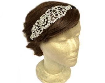 Silver 1920s Headband, Silver Bridal Headpiece, Art Nouveau Headband, Jewel headpiece, Great Gatsby, Downtown Abbey, Rhinestone Jewelry