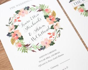 Floral Wedding Program, Wedding Programs, Coral Wedding Program, Peach Wedding Program, Summer Wedding, Classic Wedding Program