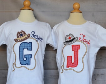 Personalized Cowboy Hat Rope Giddy Up Initial Applique Shirt or Onesie Boy or Girl