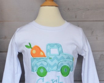 Personalized Easter Truck with Carrot Applique Shirt or Onesie Girl or Boy