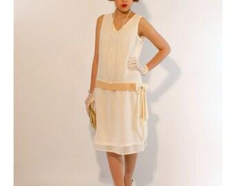 Ivory flapper dress with dark beige detail, high tea dress, garden party dress, Great Gatsby dress, 1920s flapper dress, Downton Abbey dress