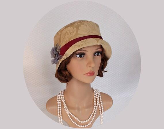 Retro Vintage Style Hats A golden flapper hat with oxblood satin Great Gatsby hat 1920s cloche hat Downton Abbey hat Charleston hat gold 20s hat high tea hat $110.00 AT vintagedancer.com