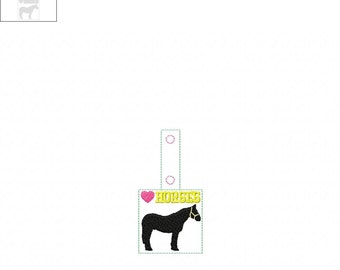 LOVE HORSES  In The Hoop - Snap/Rivet Key Fob - DIGITAL Embroidery Design