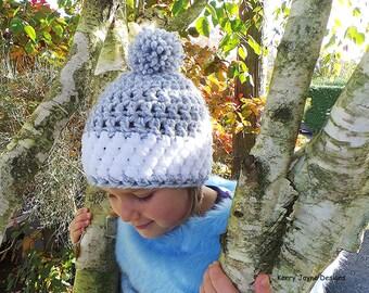 CHILD'S CROCHET HAT Pattern Child Nordic Snow hat pattern Child sizes Bobble hat pattern Girls hat pattern Childs Pom Pom Hat Boys N0. 22a
