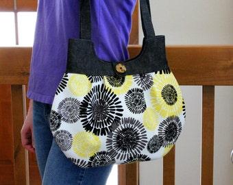 Pleated Zippered Shoulder Bag, yellow and black bag, medium bag, gift for women, floral bag