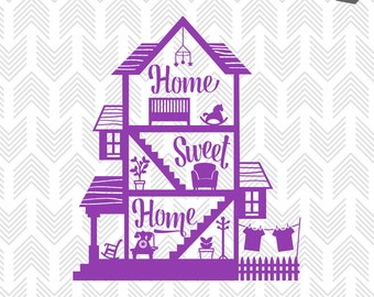 Home Sweet Home SVG - SVG Cutting Files - Svg files for Silhouette - SVG Files for Cricut - Home Svg  - Commercial Use - Svg Files Sayings