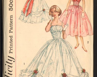 1957 Simplicity Dressmaking Pattern for Evening Gown and Jacket Sew Feminine FF