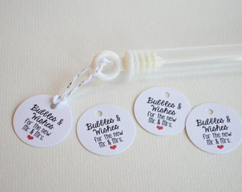 Mini 1 inch Bubble Tag - Bubbles & Wishes for the Mr. and Mrs.