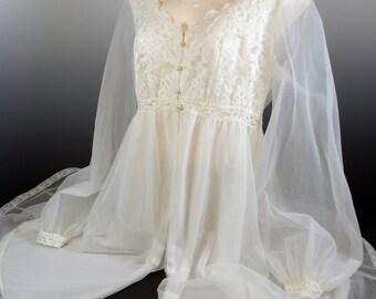 Sheer White Lacy Bed Jacket Faerie Wear Puffy Sleeves Fantasy Role Play 70s Olga Brand Wedding Night Boudoir Wear
