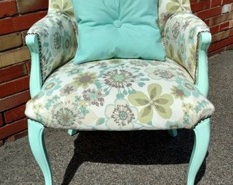Accent Chair   Mint Green   Living Room Furniture   Floral Print   Chair Set