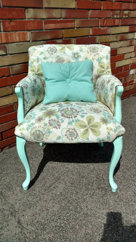 Floral and Mint Accent Chair