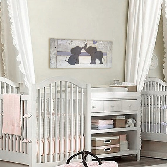 Elephant Twin Nursery Wall Art Nursery Room Decor For Twins