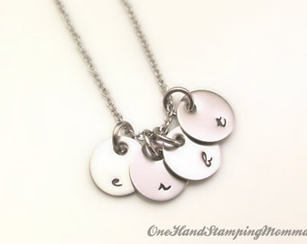 Hand Stamped Necklace - Personalized Mom Necklace - Initial Necklace - Personalized Jewelry