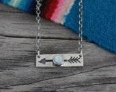 Opal Necklace Silver Jewelry | Arrow Necklace | Sterling Silver | Bar Necklace | Sideways Arrow Bar Layering