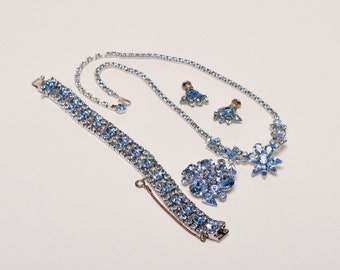 Signed Sherman Grand Parure,  Full Heirloom Set, Blue Sherman Jewelry