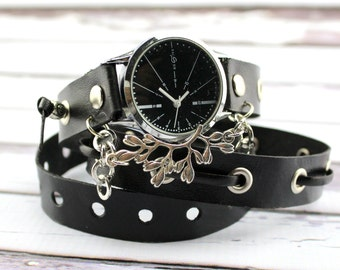 Black Leather Wrap Watch, Black Wrist Watch for Women, Black Leather Bracelet, Leather Wrap Bracelet with Silver Embellishment
