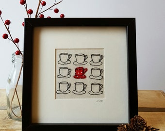 Freehand Machine Embroidery and Applique Teacup Stitched Picture