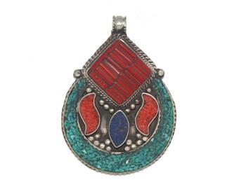 Lapis pendant Coral pendant Turquoise Pendant Nepal Pendant nepalese pendant Tibetan Pendant Tibet pendant boho Pendant gypsy pendant PB890