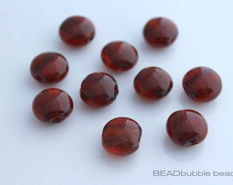 11mm Cherry Red Silver Foil Glass Beads, Coin Flat Round Lentil Lampwork Beads, Pack of 10 (BGL120)