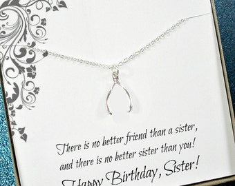 Sister Birthday Gift, Birthday Gift for Sister, Sister Necklace, Unique Sister Gifts, Sister Gift, Sisters, Big Sister, Wishbone Necklace