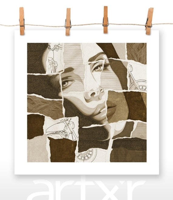 TORN SERIES - VOLUME 02 - Lana Del Rey - Print of a Hand Drawn Illustration with Digital Color and Paper Textures Added / Various Sizes