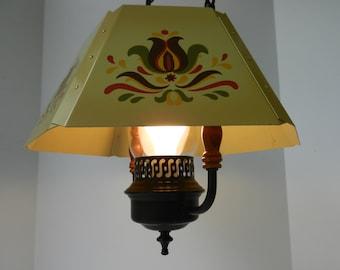 Vintage Tole Pendant Light, Toleware, PA Dutch Tulip Design, Tole Ware, Dining Room Light, Kitchen Light