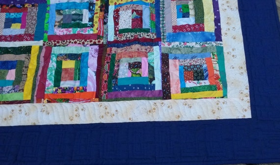 Log Cabin Block String Pieced Quilt Multicolored Quilt