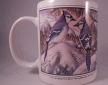 Vintage Blue Jay Bird White Mug Cup Blue Christmas 1991 Eklund's 1994 Holds 12 Ounces