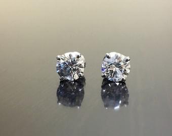 14K White Gold Diamond Stud Earrings - 14K Diamond Earrings - 14K Diamond Studs - 2 Carat Diamond Earrings - White Gold Studs - Diamonds