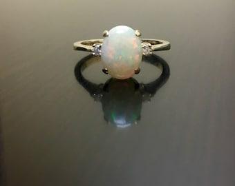 14K Yellow Gold Diamond Opal Engagement Ring - Art Deco 14K Gold Opal Diamond Wedding Ring - Opal Wedding Ring - 14K Gold Art Deco Opal Ring