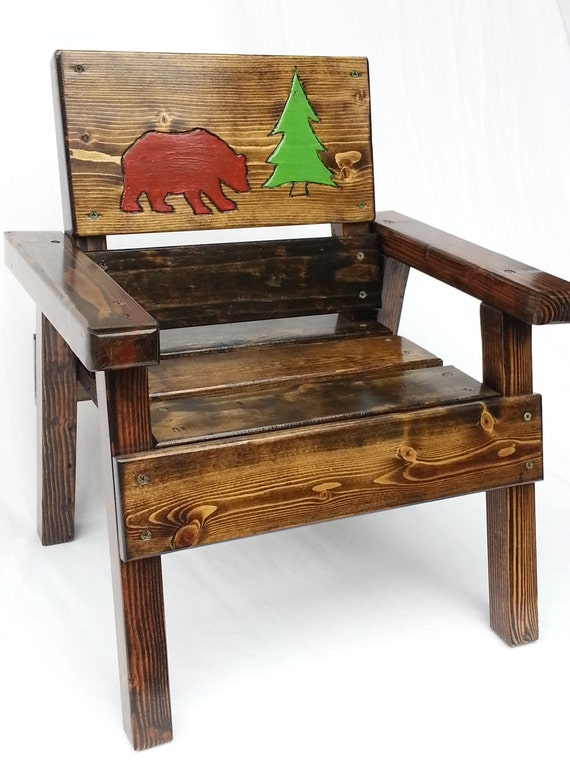 Childrens Rustic Feel Wood Chair Toddler Boy Girl