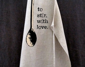 to stir, with love linen apron