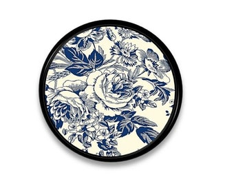 Blue and Antiqued White Floral Toile Dresser Knob - Shabby Cottage, Chic Country, Victorian, Bath - Drawer Pull, Cabinet Door - 315D23