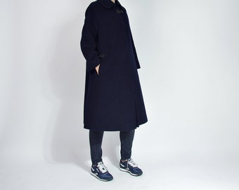 SALE 20% OFF - 70s Jobis Minimalist Deep Navy Camel Hair Wool Street Style Women Coat / Size S/M