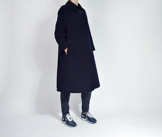 SALE - 70s Jobis Minimalist Deep Navy Camel Hair Wool Street Style Women Coat / Size S/M
