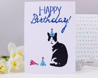 Happy Birthday Cat Party Hat Card / Party Cat / Cat Card / Love Cats / Funny Cat Card
