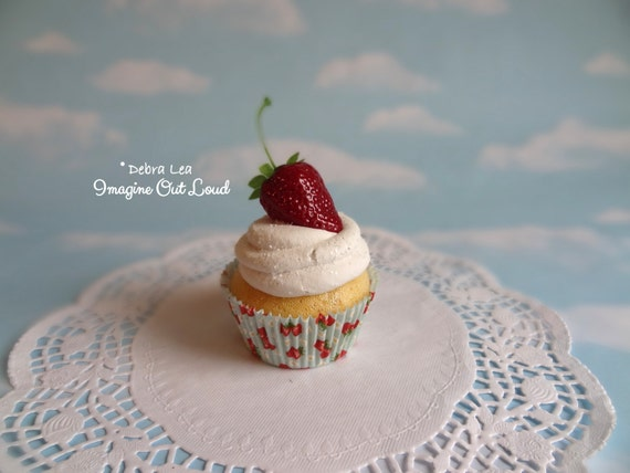 Fake Cupcake Handmade Fake Strawberry Shortcake Cupcake Strawberry on top Valentine's day