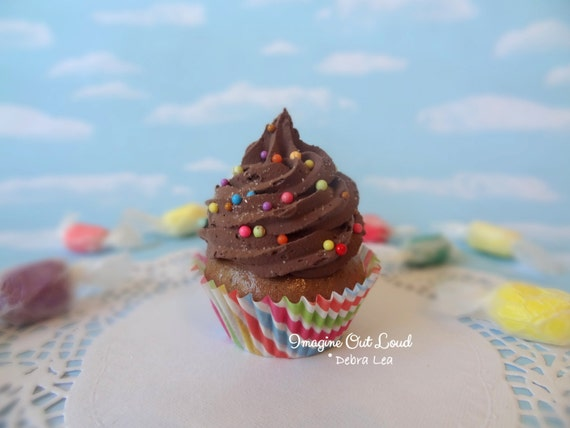 Fake Cupcake Chocolate Frosting Rainbow Sprinkles