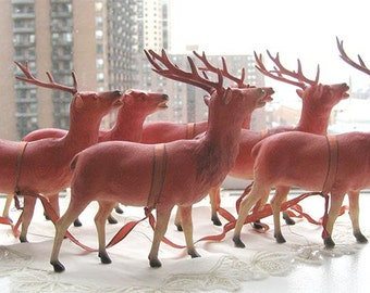 SALE - Antique Christmas Putz Pink Celluloid Reindeer with Red Eyes, Set of 6.