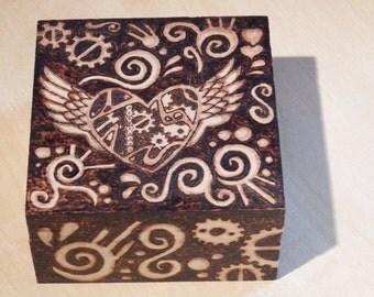 Steampunk Heart Pyrography Box