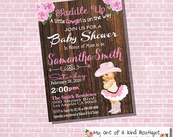 Cowgirl Baby Shower invitation vintage pink country wood backyard shower party invite invitation digital printable invitation 13883
