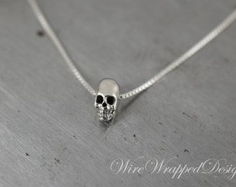 Necklace Sterling Small SKULL Necklace 925 Sterling Silver Small SKULL Necklace Minimalist Modern Jewelry Celebrity Silver Necklace