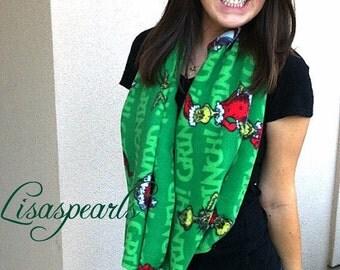 Grinch ON SALE !  infinity fleece Christmas scarf .